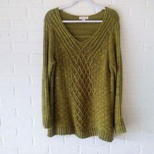 Coldwater Creek cotton blend cable knit sweater